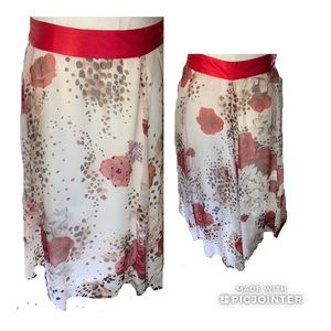Lapis Animal Print and Red Roses Silk Skirt